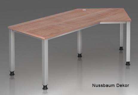 J-Schreibtisch Hammerbacher Q-Serie 210 x 113 cm Nussbaum Dekor