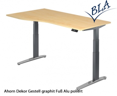Schreibtisch Hammerbacher XB Elektro Aktiv 180 x 80-100 cm Ahorn Grau Po