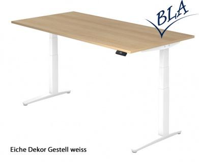 Schreibtisch Hammerbacher XB Elektro Aktiv 180 x 80-100 cm Eiche Dekor weiss