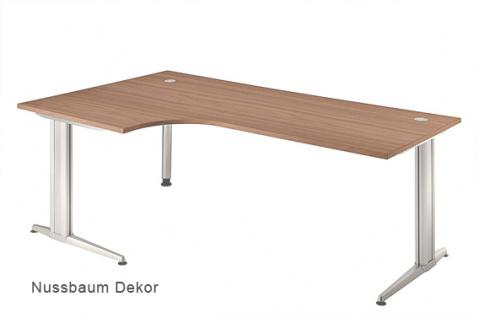 L-Schreibtisch Hammerbacher XS-Serie 200 x 120-80 cm Nussbaum Dekor