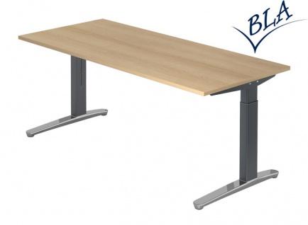 Schreibtisch elektrisch höhenverstellbar Hammerbacher Berlin Aktiv 160 x 80 cm Eiche Dekor Graphit Poliert Top Vor-Ort-Artikel