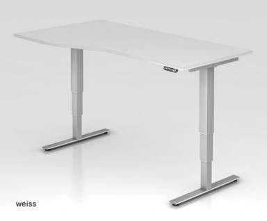 Schreibtisch Hammerbacher XD-Serie Elektro 180 x 80-100 cm weiss