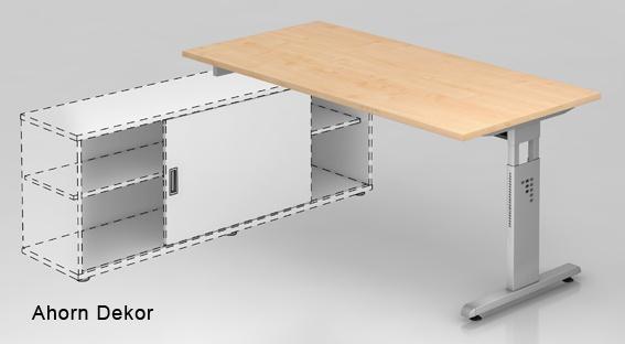 Schreibtisch Auflieger Hammerbacher O-Serie 180 x 160 cm Ahorn Dekor