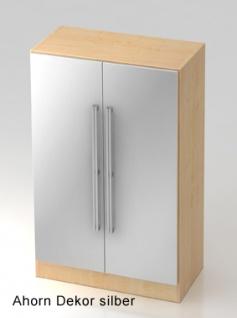 Büroschrank Hammerbacher Solid OS 3 OH Türen 80 x 42 x 127 cm Ahorn Dekor silber