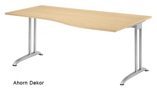 Schreibtisch Hammerbacher B-Serie 180 x 100-80 cm Ahorn Dekor