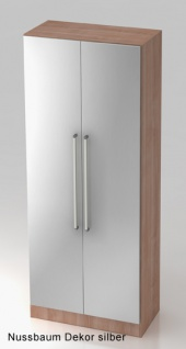 Garderobenschrank Hammerbacher Solid 5OH Türen 80 x 42 x 201 cm Nussbaum Dekor silber