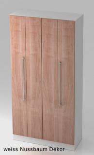 Falttürenschrank Hammerbacher Solid 5OH Türen 100 x 42 x 201 cm weiss Nussbaum Dekor