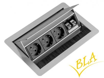 Einbausteckdose Evoline Flip Top Push 4er Element 3fach-Steckdose 2 x RJ45