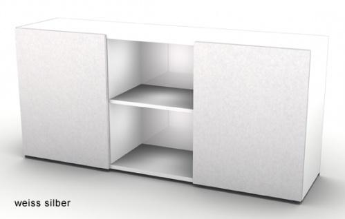 Schwebetürenschrank Hammerbacher Basic 2OH 160 x 42 x 75 cm weiss silber