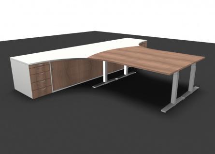 Schreibtisch Kombination elektrisch höhenverstellbar Pendo Polar Top 400 x 300 cm Auswahl