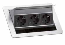 Einbausteckdose EVL Flip Top Push 3er Element 3fach-Steckdose