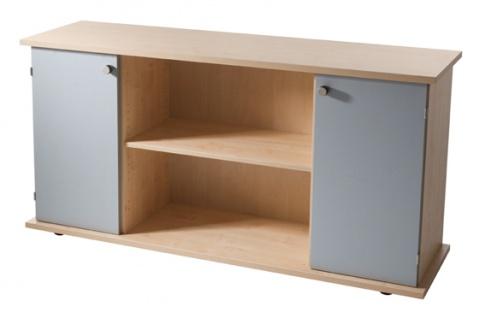 Büro Sideboard Hammerbacher Basic 2 OH 166 x 45 x 84 cm Ahorn Dekor silber