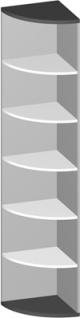 Eck Büroregal Pendo Vari Edo 6 OH 44 x 224 cm rund Auswahl Farbe Optionen