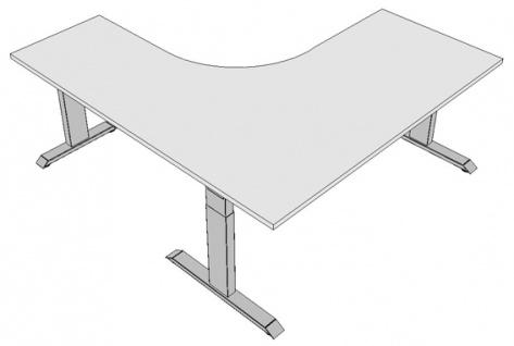 Eck-Schreibtisch Pendo Ergo Polar L-Form A 180 x 200 cm Auswahl Farbe Optionen - Vorschau 2