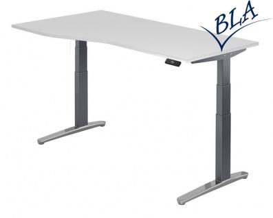 Schreibtisch Hammerbacher XB Elektro Aktiv 180 x 80-100 cm weiss Grau Po