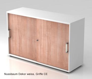Schiebetürenschrank Hammerbacher Basic 2 OH 120 x 40 x 75 cm weiss Nussbaum
