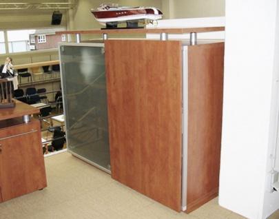 Schiebetüren-Büro Sideboard Expendo Line Exklusiv 160 cm 3 OH Glas Topboard Auswahl Farbe Optionen