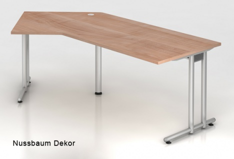 J-Schreibtisch Hammerbacher N-Serie 210 x 113 cm Nussbaum Dekor