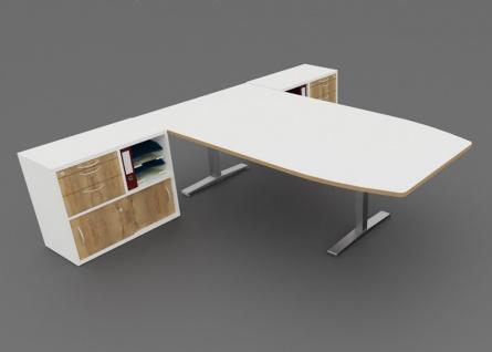 Schreibtisch Doppel Kombination elektrisch höhenverstellbar Pendo Polar Polar Top 310 x 240 cm Auswahl