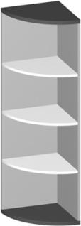 Eck Büroregal Pendo Vari Edo 4 OH 44 x 154 cm rund Auswahl Farbe Optionen