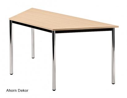 Trapeztisch Hammerbacher D-Serie rund Chrom 160 x 69 cm Ahorn Dekor