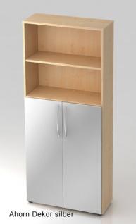 Büroschrank Hammerbacher Basic 5 OH Türen 3 OH 80 x 33 x 188 cm Ahorn Dekor silber