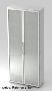Büroschrank Hammerbacher Basic 5 OH Glastüren 80 x 33 x 188 cm weiss - Vorschau 1