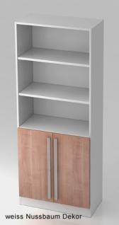 Regalschrank Hammerbacher Solid OS 5 OH Türen 2 OH 80 x 42 x 201 cm weiss Nussbaum Dekor