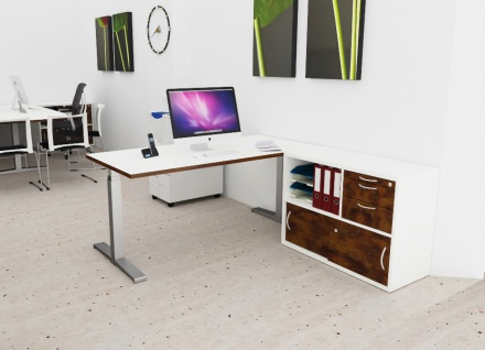 Schreibtisch Büro Sideboard Kombination elektrisch höhenverstellbar Pendo Polar Top Auswahl Farbe Optionen Größe