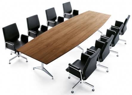 Konferenztisch Interstuhl Charme 320 x 130 cm Bootsform Auswahl Farbe Optionen
