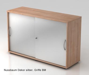 Schiebetürenschrank Hammerbacher Basic 2 OH 120 x 40 x 75 cm Nussbaum silber