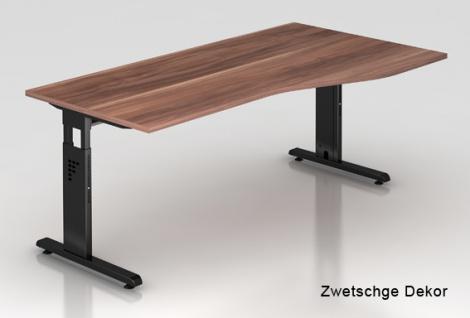Schreibtisch Hammerbacher O-Serie 180 x 100 - 80 cm Zwetschge Dekor