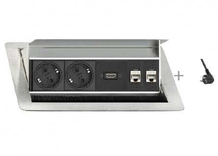 Einbausteckdose Evoline Flip Top Push 4er Element 2fach-Steckdose HDMI 2 x RJ45