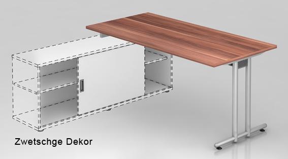 Schreibtisch Auflieger Hammerbacher N-Serie 180 x 160 cm Zwetschge Dekor