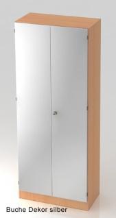 Büroschrank Hammerbacher Solid SS 5 OH Türen 80 x 42 x 201 cm Buche Dekor silber