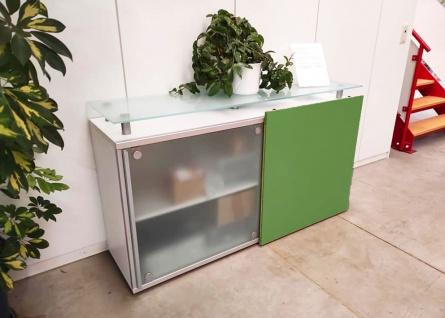 Schiebetüren-Büro Sideboard Expendo Line Exklusiv 160 cm 2 OH Glasboard Auswahl Farbe Optionen