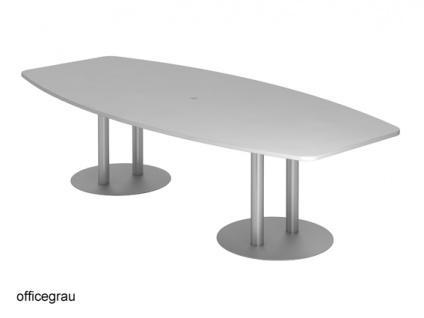 Konferenztisch Hammerbacher KT-Serie D 280 x 130-78 cm grau Silber