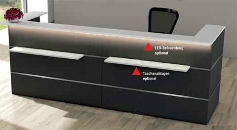 Empfangstheke Theo Kerkmann Atlas Komplett-Artikel U-Form Auswahl Farbe Optionen
