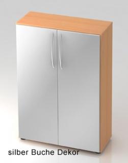 Büroschrank Hammerbacher Basic 3 OH Türen 80 x 33 x 115 cm Buche Dekor silber