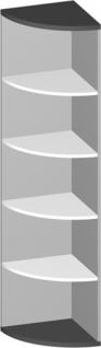 Eck Büroregal Pendo Vari Edo 5 OH 44 x 189 cm rund Auswahl Farbe Optionen