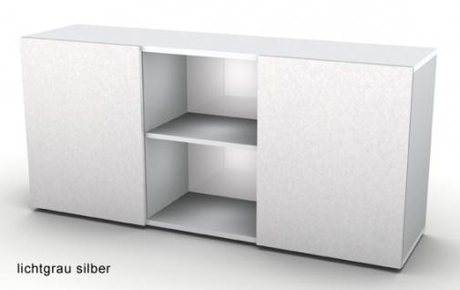 Schwebetürenschrank Hammerbacher Basic 2OH 160 x 42 x 75 cm officegrau silber