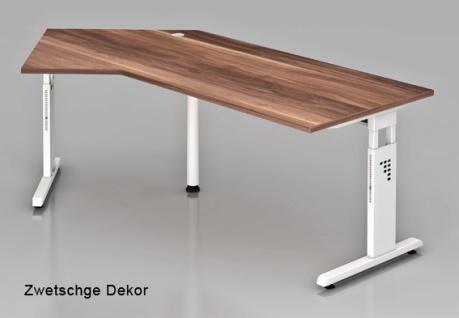 J-Schreibtisch Hammerbacher O-Serie 210 x 113 cm Zwetschge Dekor