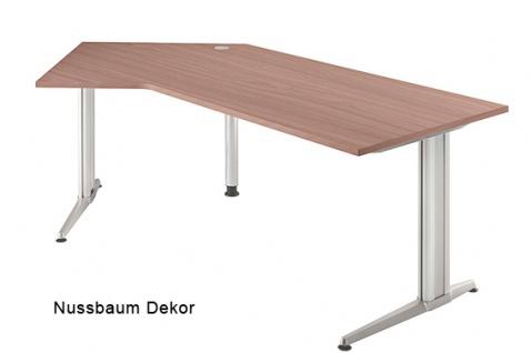 J-Schreibtisch Hammerbacher XS-Serie 210 x 113 cm Nussbaum Dekor