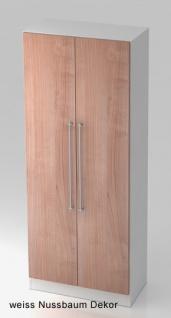 Garderobenschrank Hammerbacher Solid 5OH Türen 80 x 42 x 201 cm weiss Nussbaum Dekor