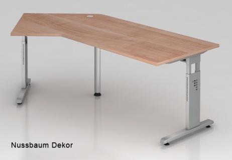 J-Schreibtisch Hammerbacher O-Serie 210 x 113 cm Nussbaum Dekor