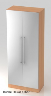 Garderobenschrank Hammerbacher Solid 5OH Türen 80 x 42 x 201 cm Buche Dekor silber