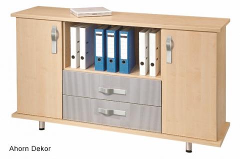 Büro Sideboard Hammerbacher Basic 2 OH 166 x 45 x 84 cm SL Ahorn Dekor silber
