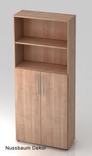 Büroschrank Hammerbacher Basic 5 OH Türen 3 OH 80 x 33 x 188 cm Nussbaum Dekor