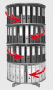 Drehsäule für Ordner RFF 81 cm 4 Etagen einzeln drehbar grau