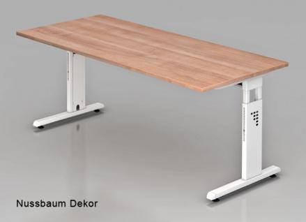 Schreibtisch Hammerbacher O-Serie 200 x 100 cm Nussbaum Dekor